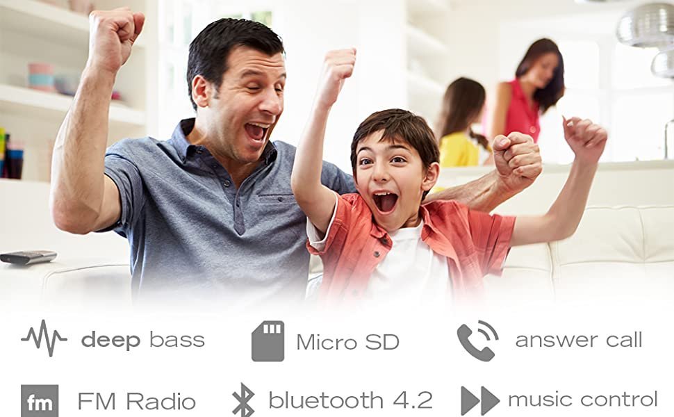 FM radio, micro SD/TF compatible, great handsfree and music control, extremely easy to operate