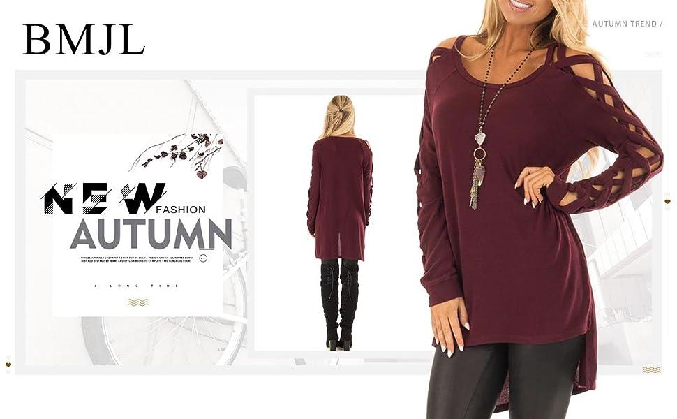5b7c9bca3ed8a BMJL Women's Asymmetric Cut Out Cold Shoulder Long Sleeve Tops Longline  Shirt Elegant High Low Hem Winter O Neck Jumper