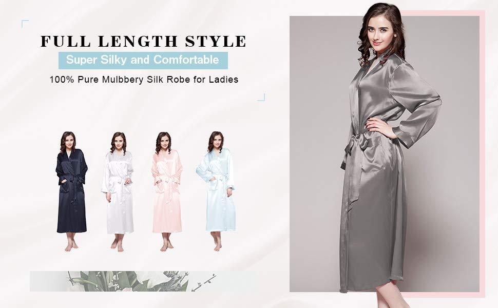 4359b09e7c LilySilk 100% 22 Momme Pure Mulberry Silk- Women s Long Silk Kimono Robe. SILK  DRESSING GOWN