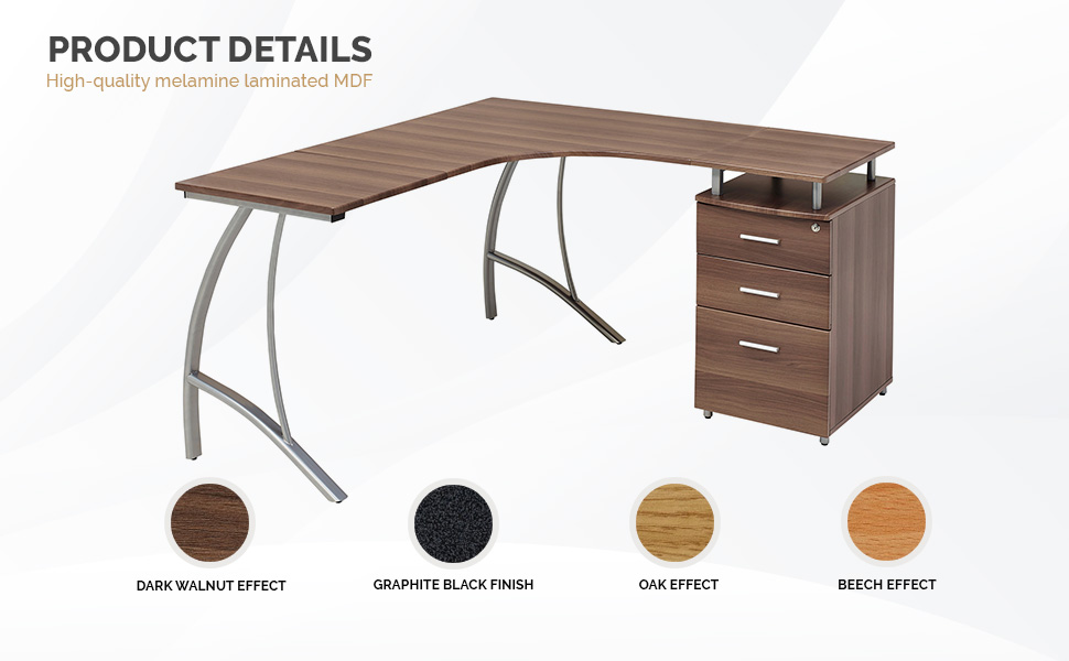 Large Corner Computer Desk With 3 Drawers And A4 Filing