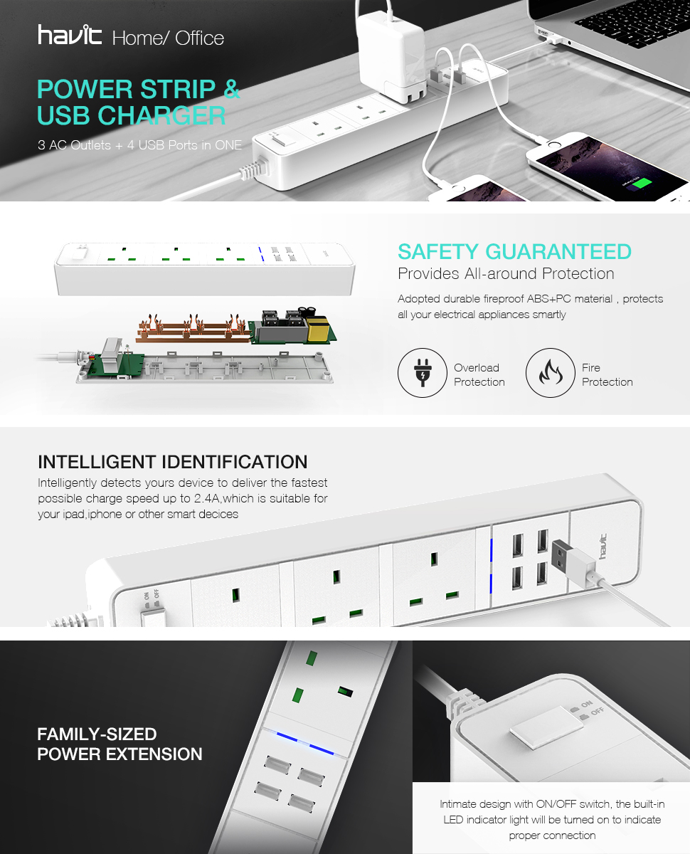 Mains Extension Lead Havit Universal Power Strip With Can Your Electrical Outlets Protect Against A House Fire Hv C763 Surge Protector 3 Way Outlet 4 Usb Charging Ports White