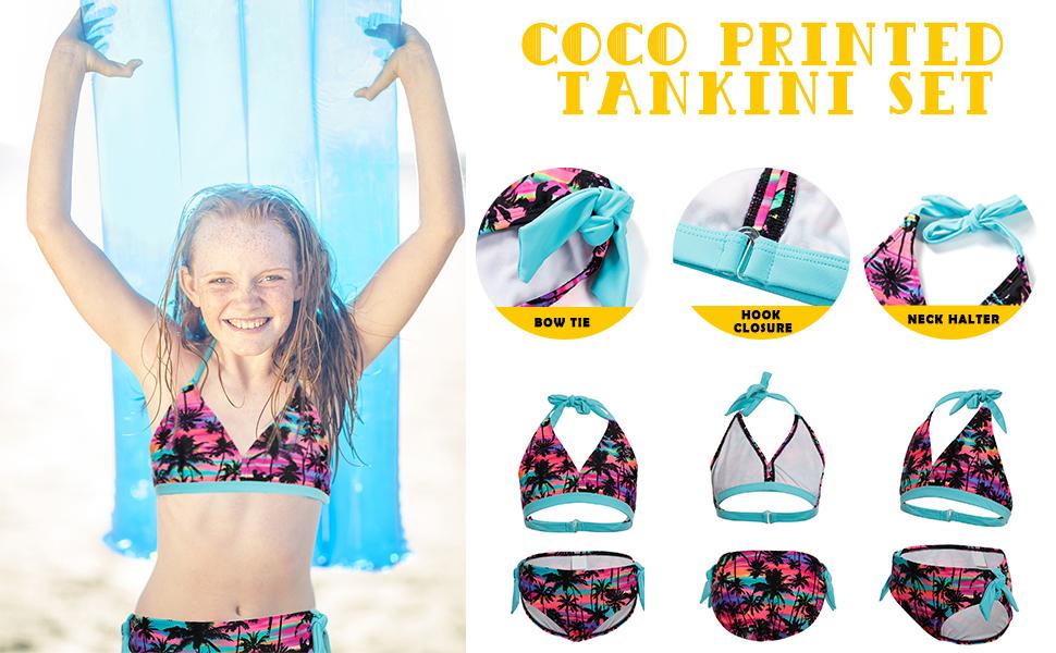 Idrawl Big Girls Kids Two Piece Tankini Set Coco Printed Halter