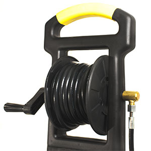 Jet washer hose reel with hose and travel handle