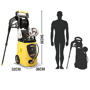 Pressure washer dimensions and comparison to size of a person