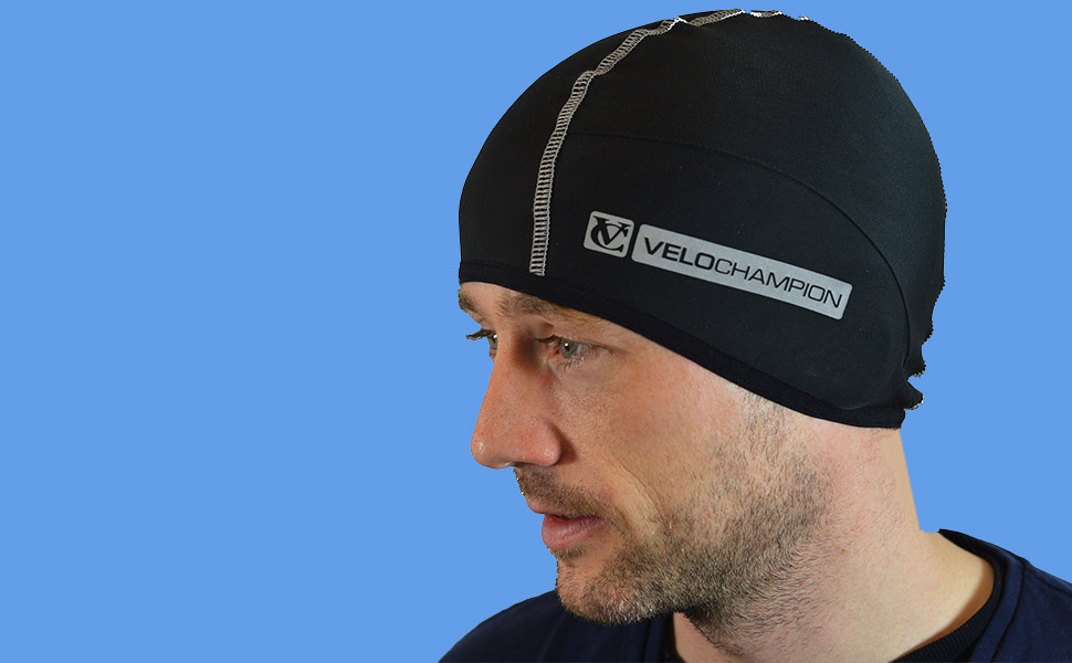 810d52b8e VeloChampion Thermo Tech Cycling Skull Cap – Windproof Thermal Under Helmet  Hat – Stretchable Tight/Snug Fit Head Warmer – Ideal as Running Hat, ...