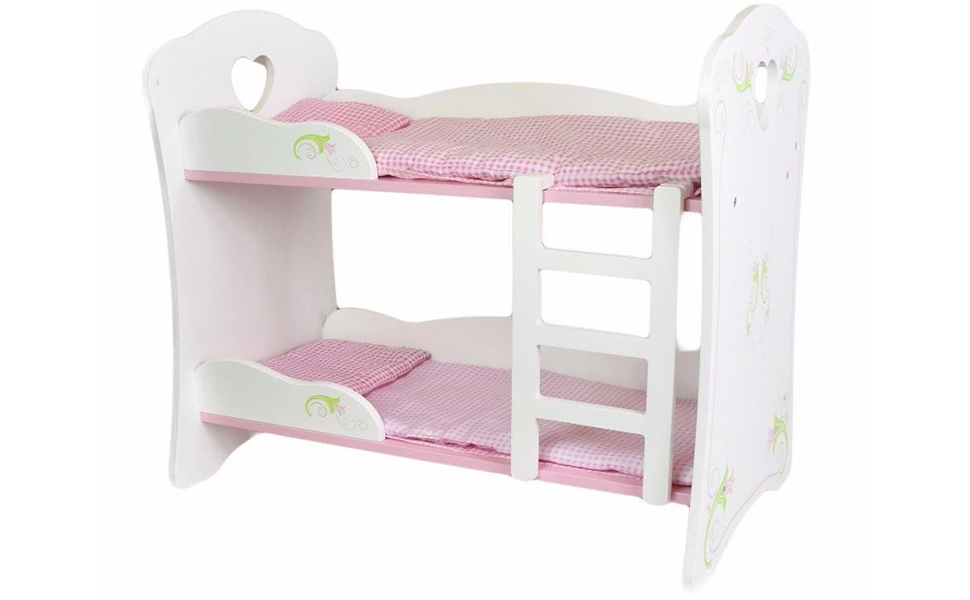 The Magic Toy Shop Dolls White Wooden Bunk Bed Cot Beds Doll
