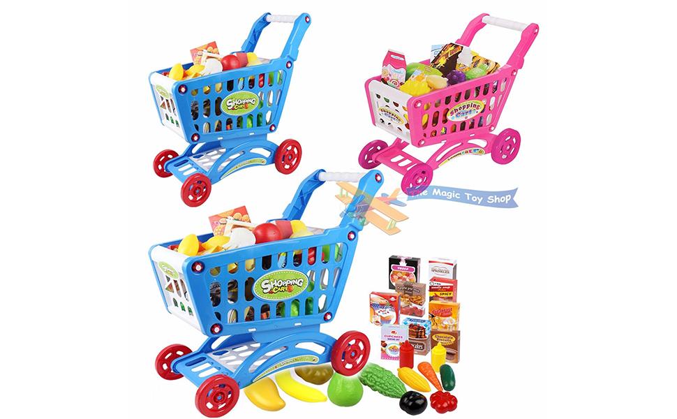 1953e7733aab Children Shopping Trolley Cart Play Food Set Kids Pretend Shop Push ...