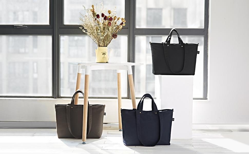 21fc42a10a8e BONTHEE Canvas Tote Bag Handbag Women Large Shopper Shoulder Bag for School  Travel Work