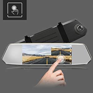 "TOGUARD Backup Camera 7/"" Mirror Dashcam Touchscreen FHD 1080P Rearview Dual Lens"