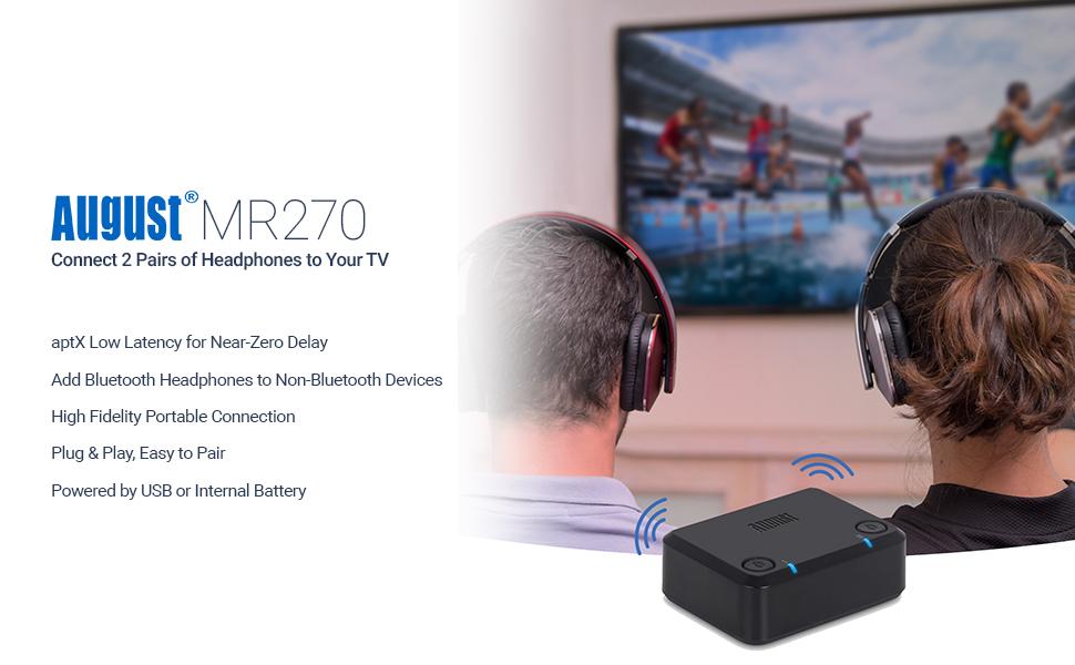 MR270 dual bluetooth transmitter tv audio headphones