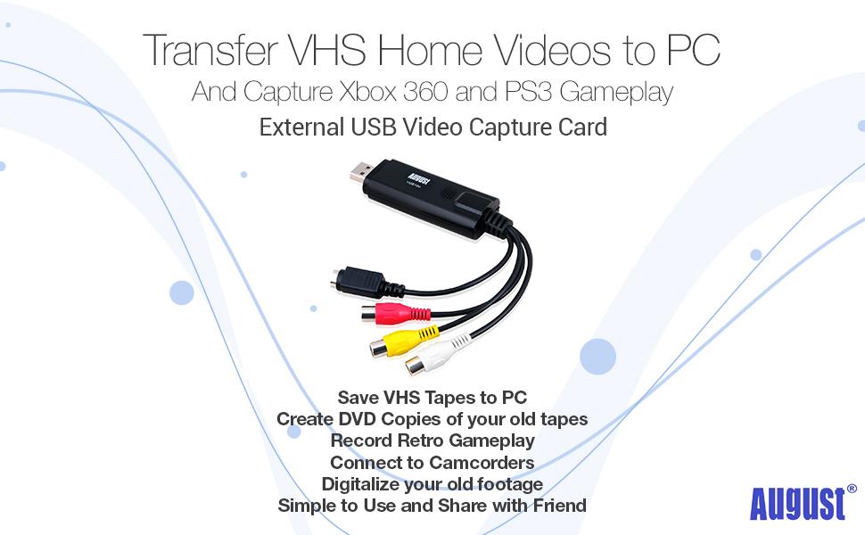 August VGB100 - External USB Video Capture Card - S Video