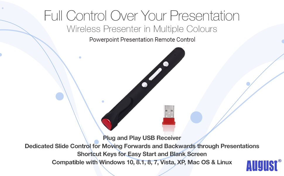 August PowerPoint Remote Control Presentation Clicker LP170 - Easily  Control Slides whilst you Teach or Talk - Wireless Presenter with Pointer  (<1mW)