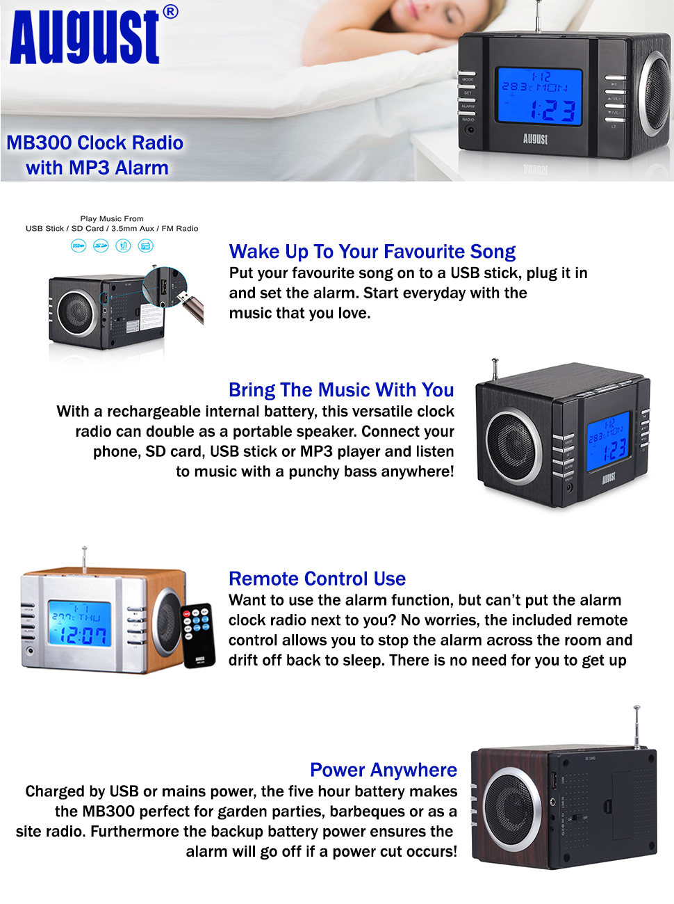 this stylish remote controlled mini mp3 alarm clock radio is great for waking up to your favourite tunes with usb in an sd card reader and 35mm audio