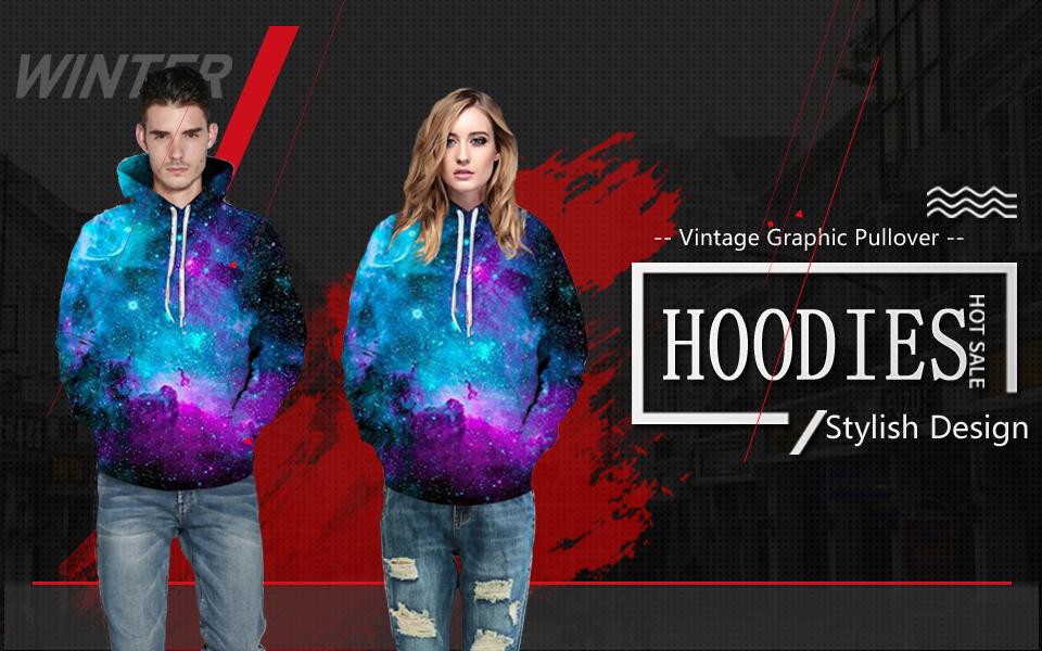 37bbf8eecc77 Imbry 3D Galaxy Animal Print Pullover Hooded Sweatshirt Long Sleeve Hoodies