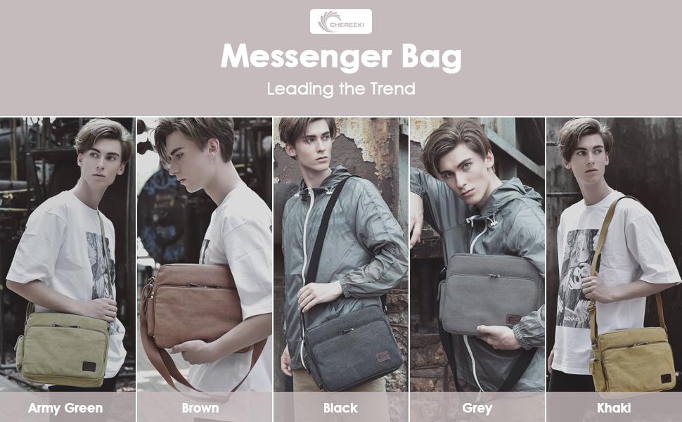 CHEREEKI Messenger Bag Canvas Bag Shoulder Satchel with 26 Pockets ...
