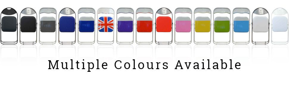Banner showing the range of colours for Harbour Housewares Metal Padded Folding Desk Chair