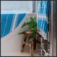 Nicola Spring Round Turkish Cotton Bath Towel in Light Blue with Tassels Bohemian Boho Chic