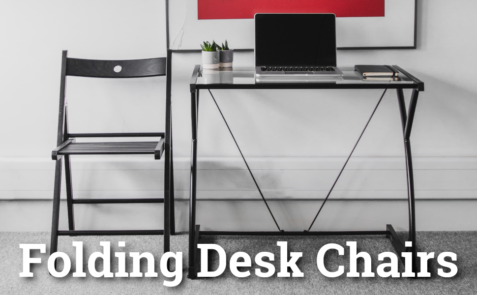 Banner showing Harbour Housewares Folding Wooden Chair beside Desk with Laptop