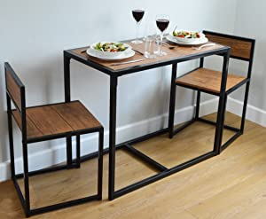 Harbour Housewares 2 Person Space Saving, Compact, Kitchen Dining Table U0026  Chairs Set.