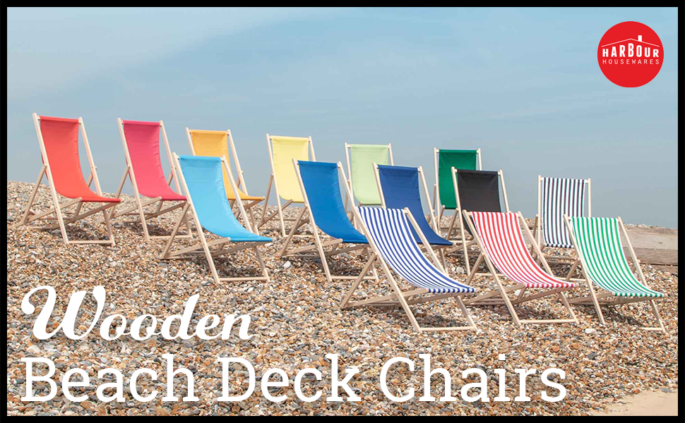 The range of Harbour Housewares Traditional Adjustable Folding Wooden Deck Chairs on Beach