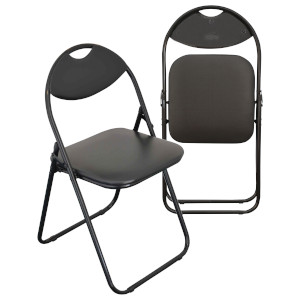 Harbour Housewares Padded Metal Folding Chair in Black with Black Frame