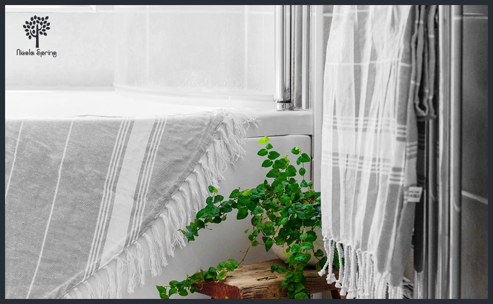 Nicola Spring Turkish Cotton Hammam Towel Towels Bathroom Beach Kitchen Spa Boho Chic Travel