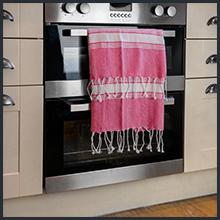 Nicola Spring Round Turkish Cotton Kitchen Tea Towel in Pink with Tassels Bohemian Boho Chic