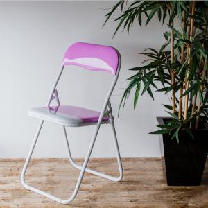 Harbour Housewares Folding Metal Desk Chair in Pink