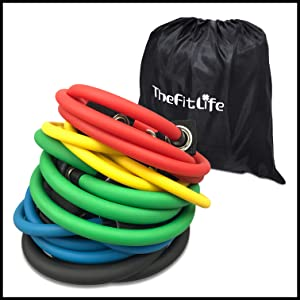 TheFitLife Exercise and Resistance Bands Set - Workout Tubes for Indoor and Outdoor Sports, Fitness, Suspension, Speed Strength, Baseball Softball ...