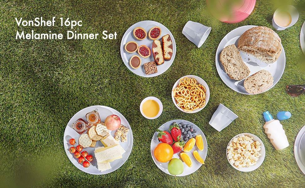 VonShef 16pc Melamine Dinner Set