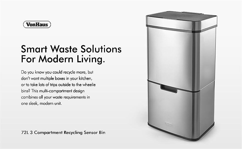 342ecf4c88e VonHaus Recycling Sensor Bin for Kitchen Waste
