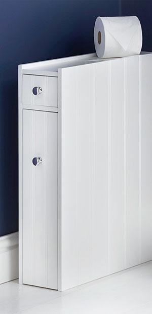 Vonhaus Slimline Storage Cupboard Unit White Colonial