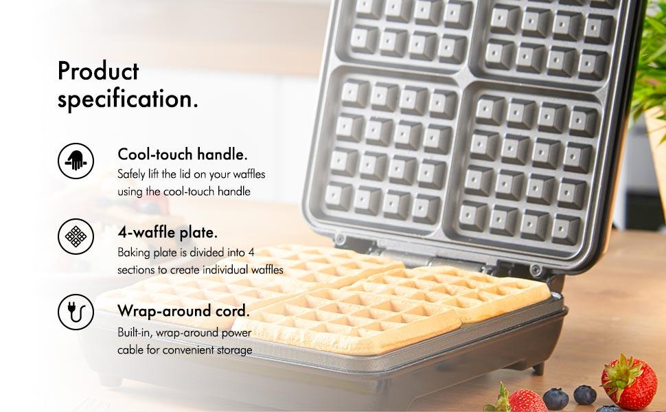vonshef quad belgian waffle maker 1100w compact design. Black Bedroom Furniture Sets. Home Design Ideas