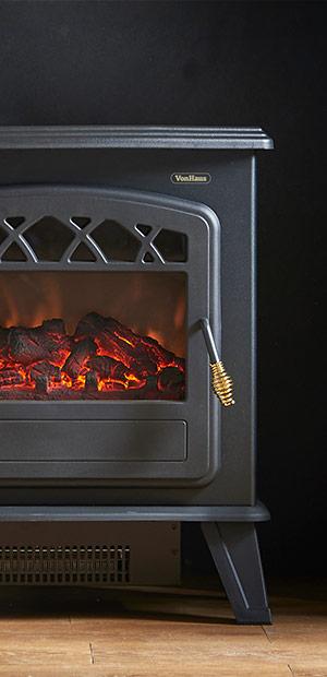 vonhaus stove heater fire place fireplace 1850w portable. Black Bedroom Furniture Sets. Home Design Ideas