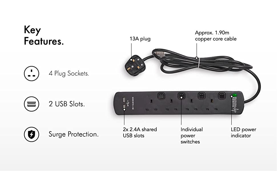 VonHaus Switched Extension Lead 4 Socket 2 USB With Surge Protection