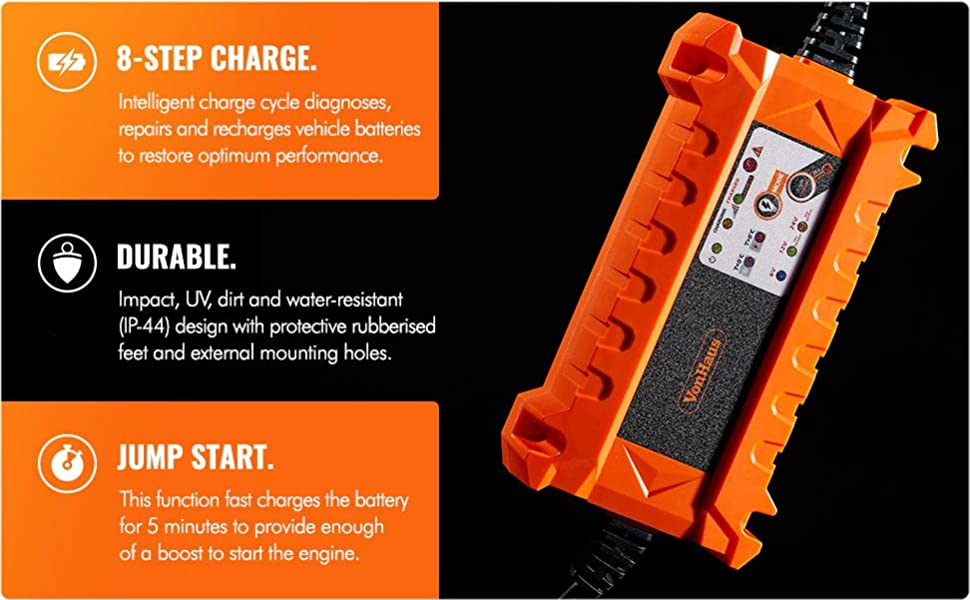Charge /& Recovery//Reconditioning for use on 6V Advanced Vehicle Battery Diagnosis 12V and 24V Batteries VonHaus Automatic Car Battery Charger 15A with Jump Charge Feature