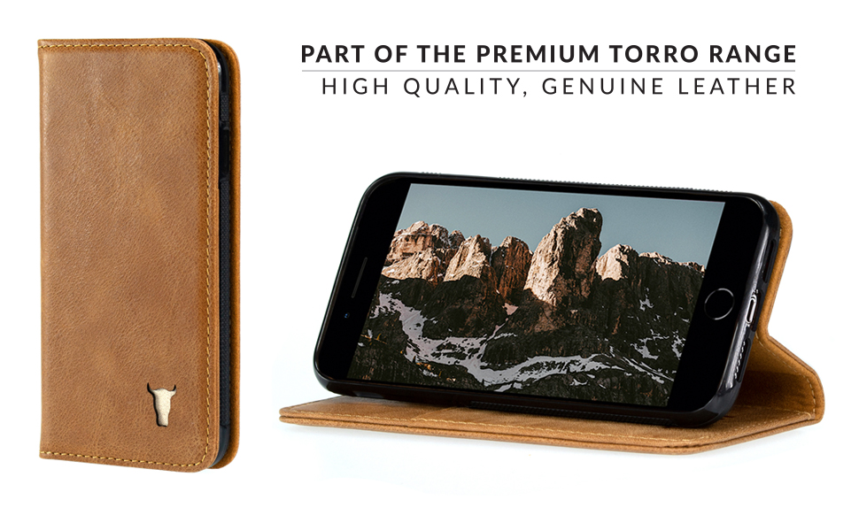 the best attitude 3d045 15de6 TORRO Premium Leather Case compatible with iPhone 8 Plus. Genuine USA Tan  Leather Case/Cover with Stand Function for Apple iPhone 7 Plus and iPhone 8  ...