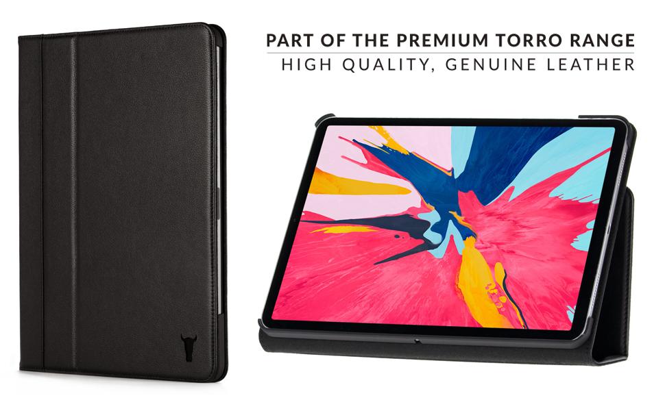 1112c64d0e TORRO All Black Napa Leather Smart Case compatible with iPad Pro 12.9