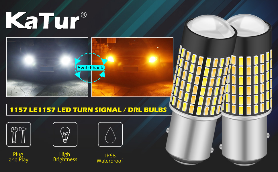 KaTur Super Bright 7528 1157 BAY15D 1016 1034 P21//5W Switchback LED Bulbs White//Amber 3014 120SMD with Projector for Turn Signal Lights and Daytime Running Lights//DRL,with 50W 8ohm Load Resistors