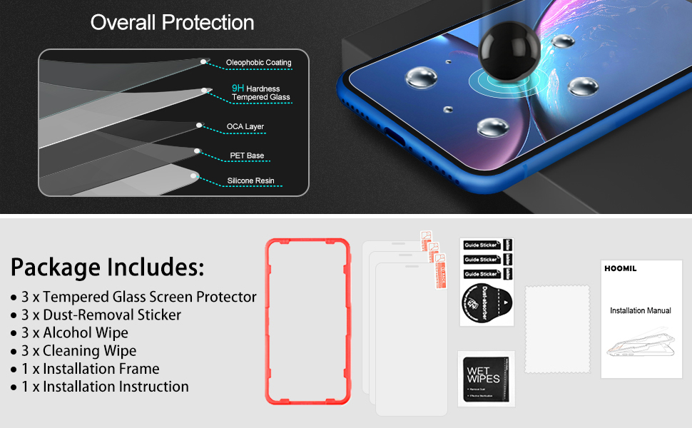 iPhone XR Screen Protector, Tempered Glass Screen Protector