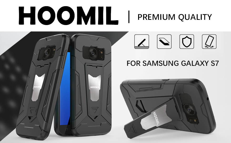 Samsung Galaxy S7 Hybrid Dual Layer Shockproof Hard Cover-Black