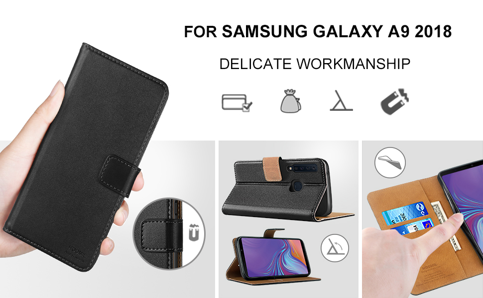 Samsung Galaxy A9 2018 Case Premium Leather Flip Wallet Phone Case Cover (Black)-2