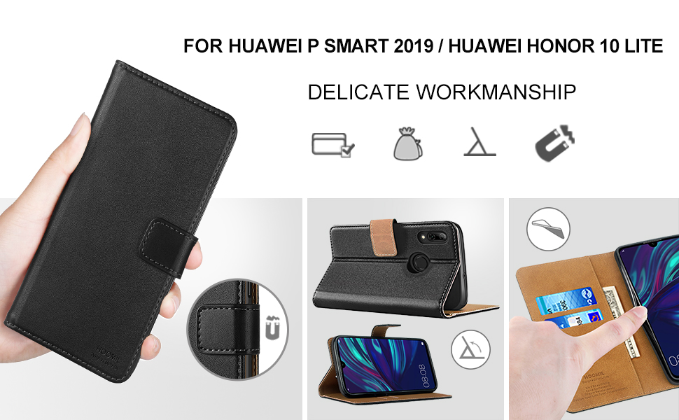 Huawei P Smart 2019 Case,Premium Leather Flip Wallet Phone Case Cover (Black)-2