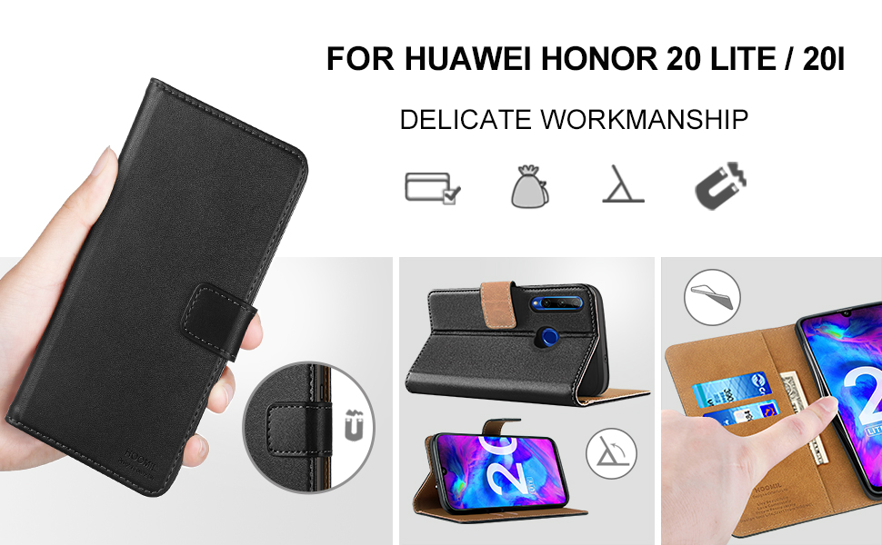 HOOMIL Case Compatible with Honor 20 Lite, Premium PU Leather Flip Wallet Phone Case for Huawei Honor 20 Lite/Honor 20i Cover (Black)