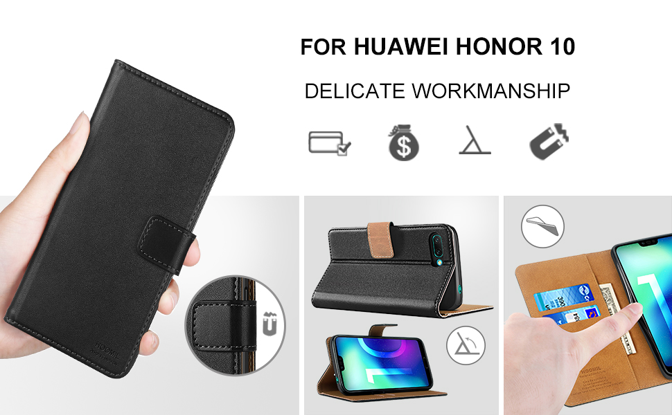 Huawei Honor 10 Case,High Quality Wallet Business Phone Case Cover (Black)-2
