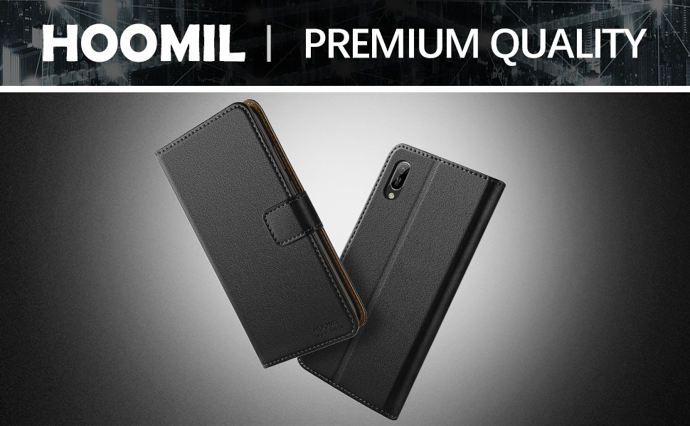 HOOMIL Premium Leather Flip Wallet Case with [Card Slots] [Kickstand Feature] [Magnetic Closure] For Huawei Y6 2019 Devices - Black