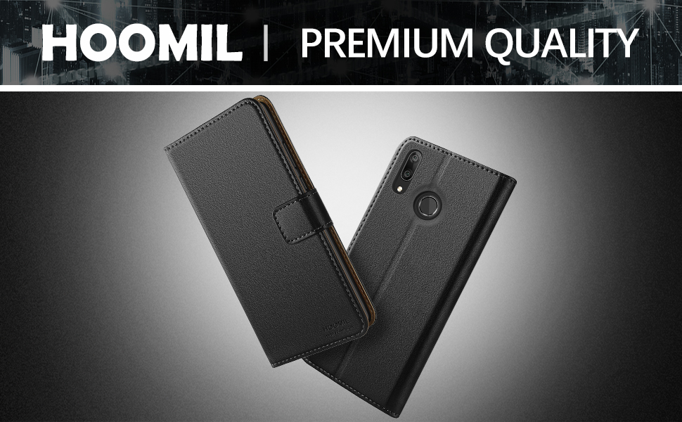 HOOMIL Premium Leather Flip Wallet Case with [Card Slots] [Kickstand Feature] [Magnetic Closure] For Huawei Y7 2019 Devices - Black