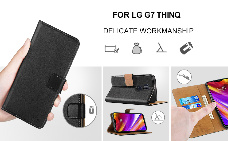 HOOMIL Premium Leather Flip Wallet Case with [Card Slots] [Kickstand Feature] [Magnetic Closure] For LG G7 ThinQ Devices - Black