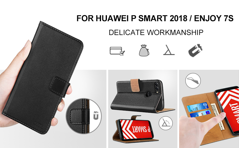 Huawei P Smart Case,Premium Leather Flip Wallet Phone Case Cover (Black)-2