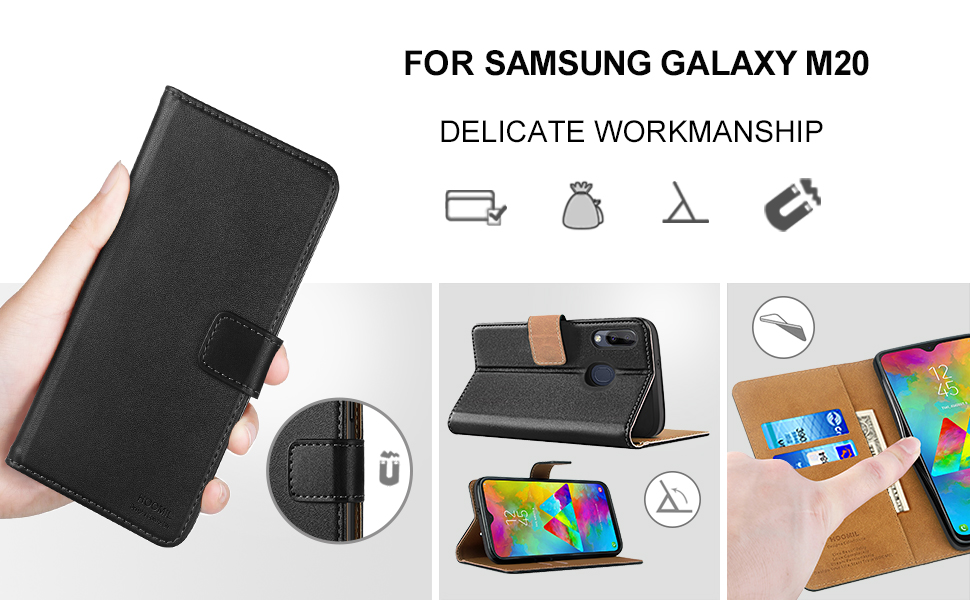 Samsung Galaxy M20 Cases , Premium Leather Flip Wallet Phone Case Cover (Black)
